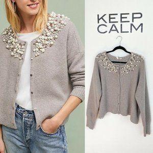 Anthropologie Moth Pearl Cardigan Taupe Gray Wool